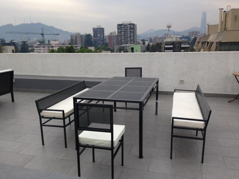 Comedor rectangular terraza 2 sillas fierro banquetas - Comedor de terraza ...