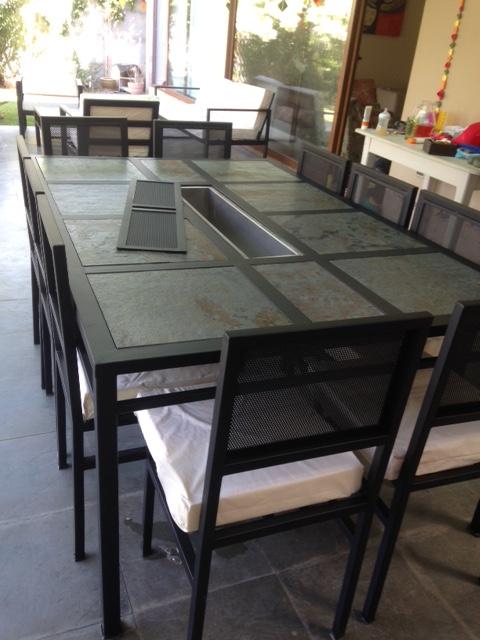 Comedor de fierro modelo huechuraba 10 sillas rusti home for Comedores exteriores para terrazas