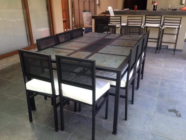 Comedor de fierro modelo huechuraba 10 sillas rusti home for Comedor 10 sillas