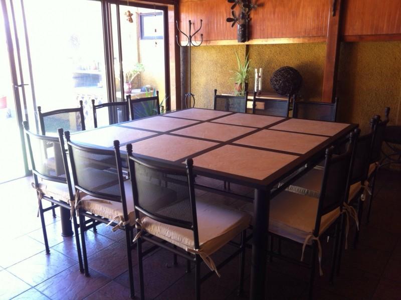 Comedor de fierro modelo pe alol n 12 sillas rusti home for Comedor 12 personas chile