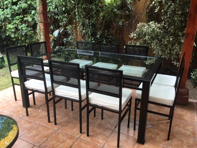 Comedor de fierro modelo recoleta 10 sillas rusti home for Liquidacion mesas sillas jardin