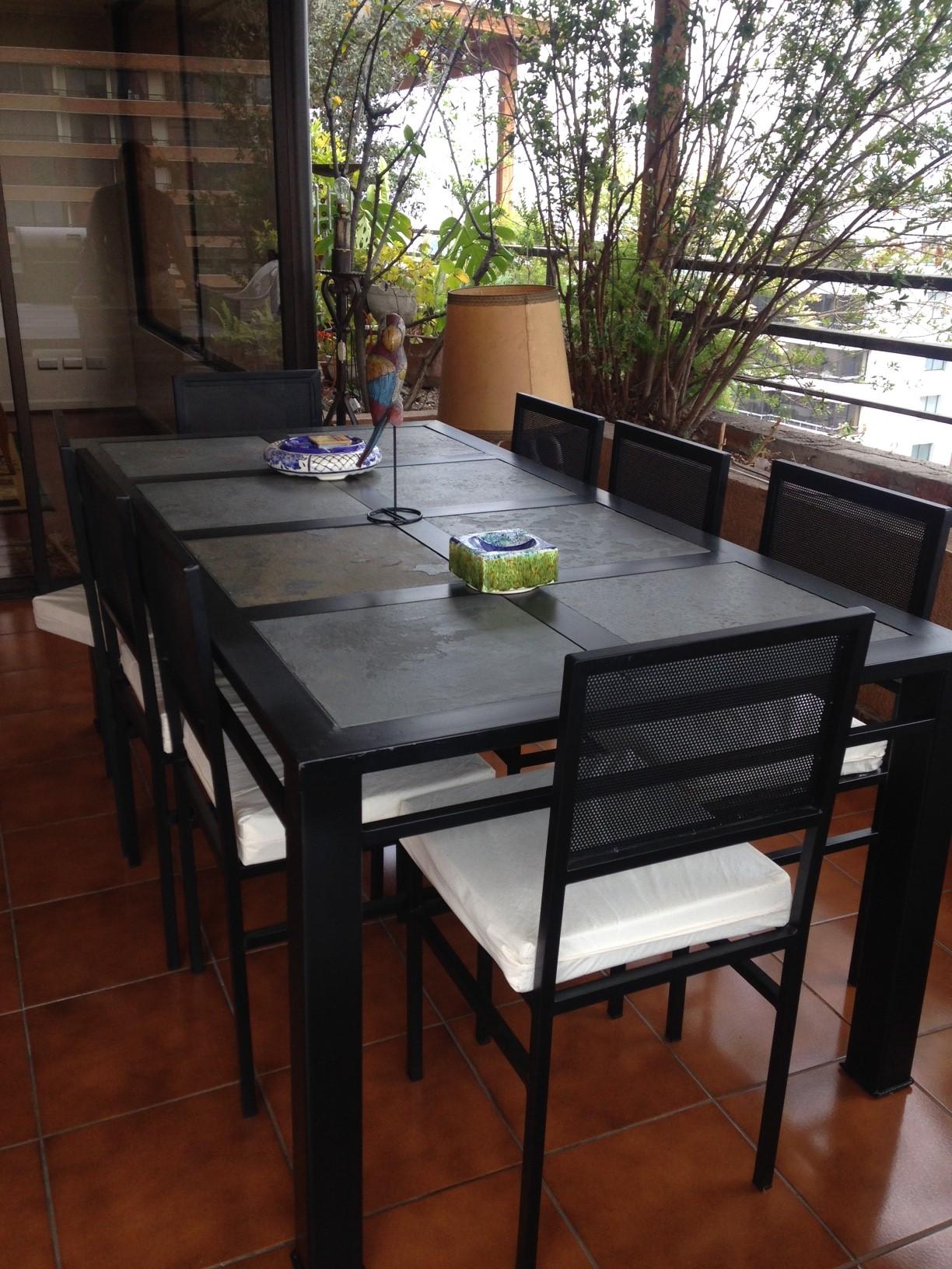 Comedor de fierro modelo puente alto 8 sillas rusti home for Comedores exteriores para terrazas