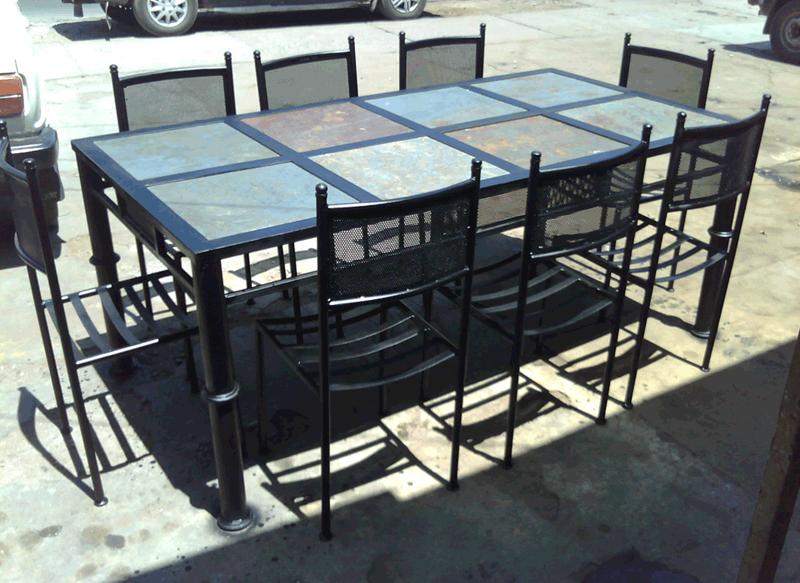 Comedor de fierro modelo la cisterna 8 sillas rusti home for Muebles de terraza fierro