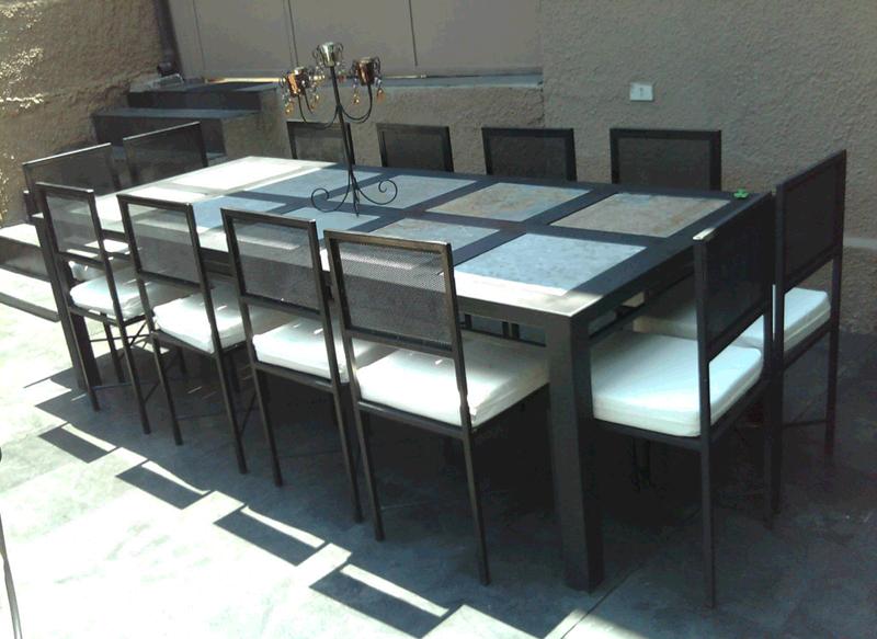 Comedor fierro 12 sillas rectangular metal estructural for Comedor estructural