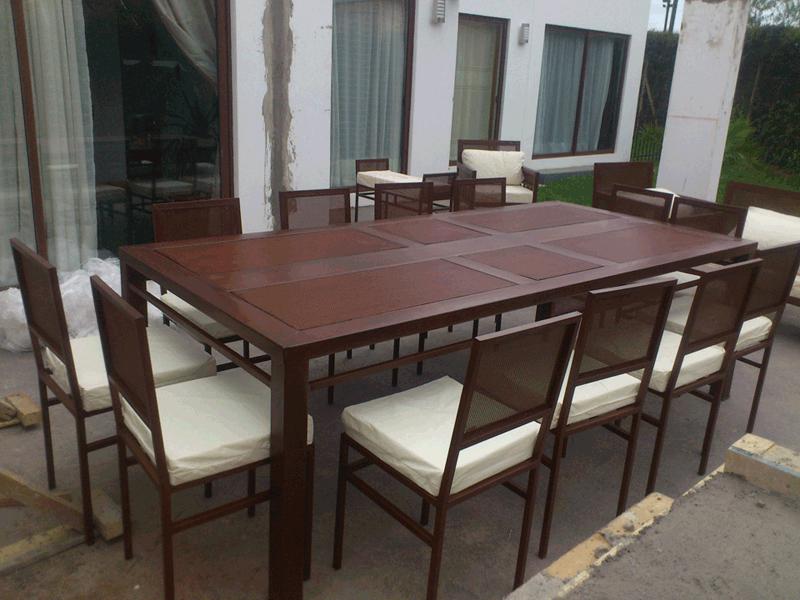 Comedor fierro 12 sillas rectangular malla rusti home for Comedor 8 puestos bogota