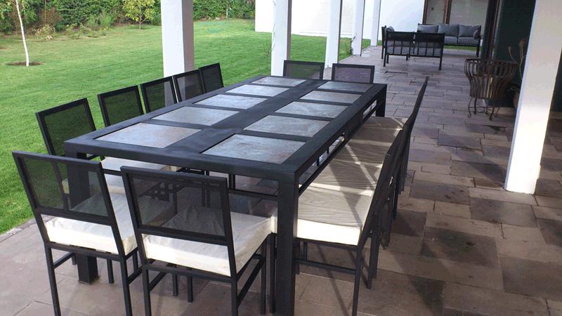 Comedor de fierro canal modelo la florida 12 sillas for Comedores exteriores para terrazas