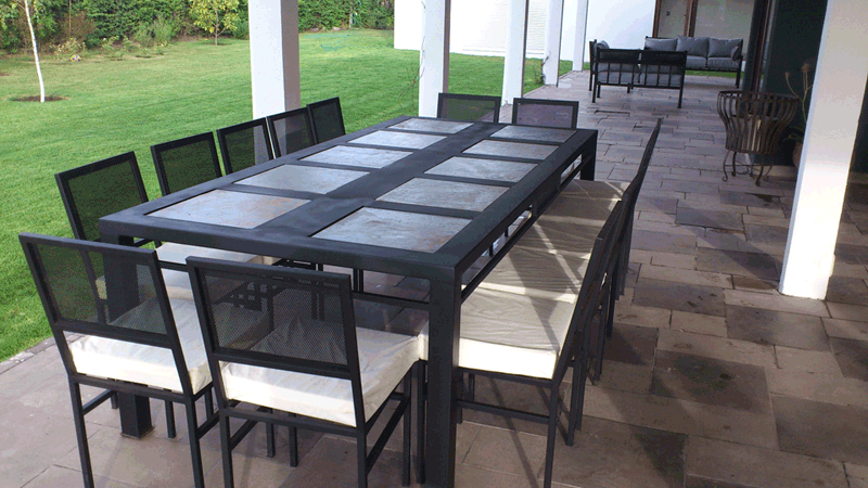 Comedor de fierro canal modelo la florida 12 sillas for Comedor terraza easy