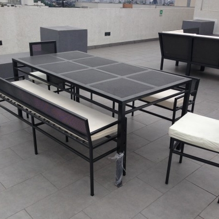 Comedor fierro 12 sillas rectangular fleje rusti home for Comedor terraza easy