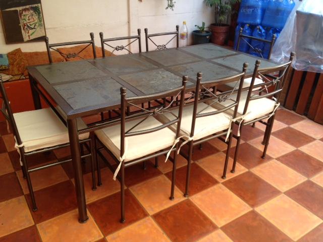 Mesa comedor metalico 8 sillas rusti home armonia en tu for Comedor 8 sillas