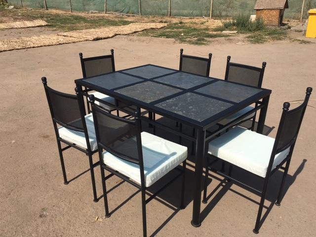 Comedor de fierro modelo maip 6 sillas rusti home for Muebles terraza fierro