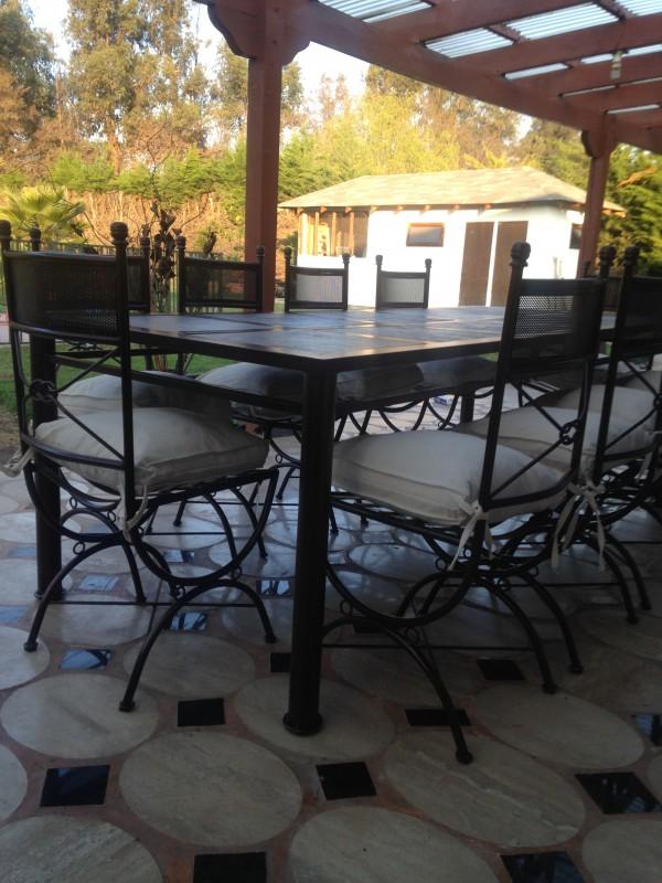 Comedor de fierro modelo renca 10 sillas rusti home for Muebles terraza fierro
