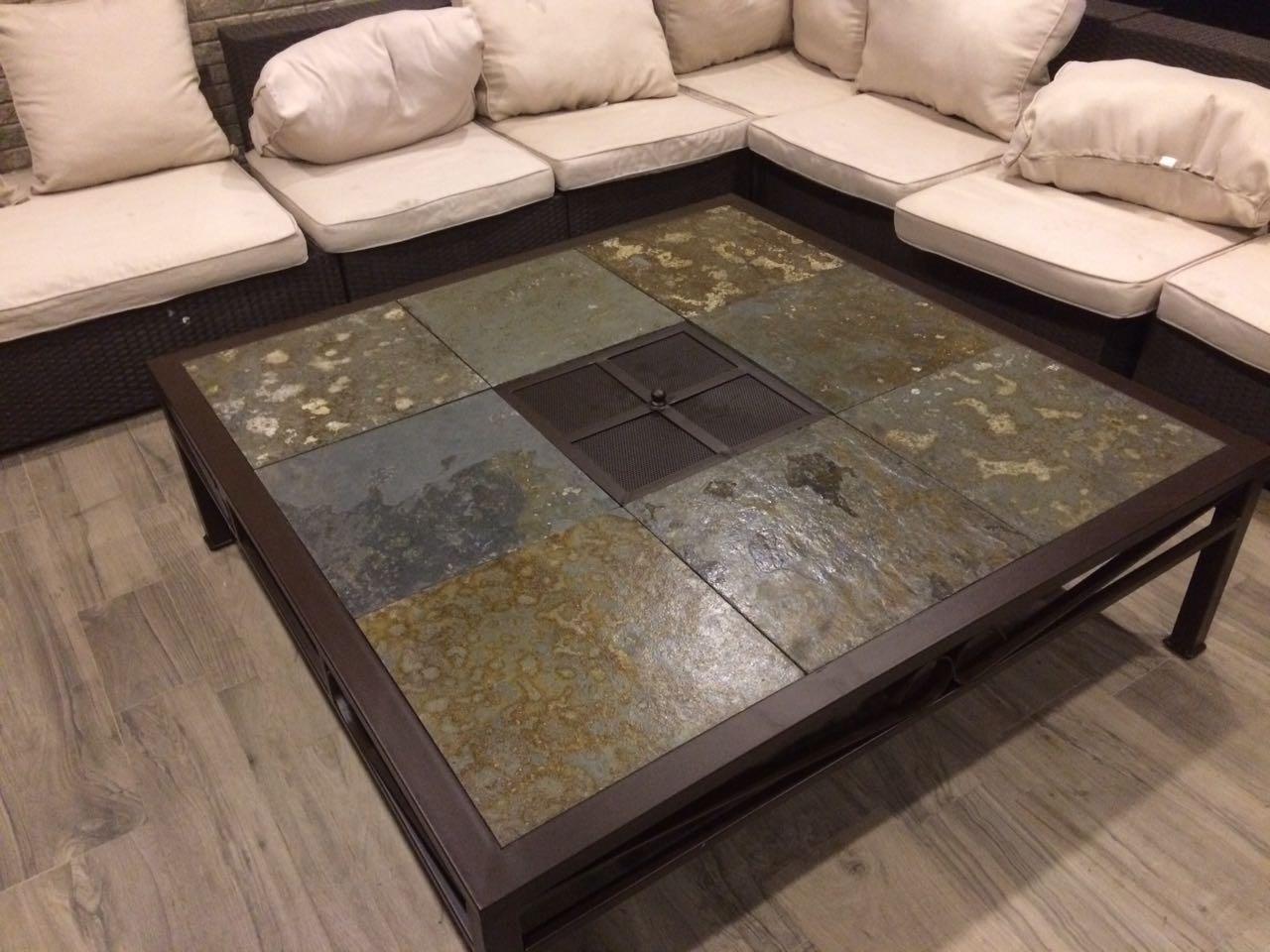mesa centro fierro grande con brasero rusti