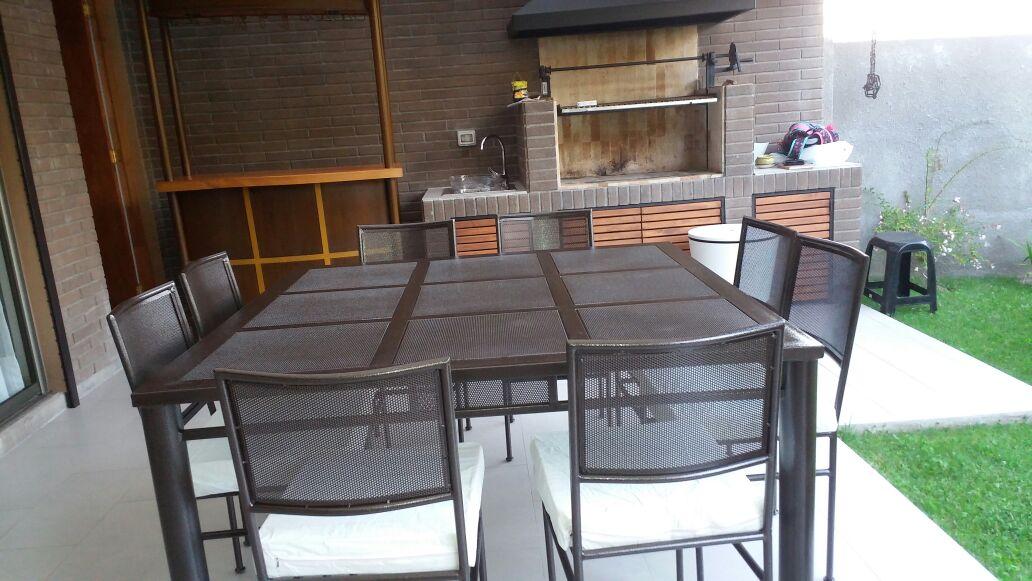 Comedor fierro cuadrados malla 8 sillas metal curva for Comedor 8 personas cuadrado