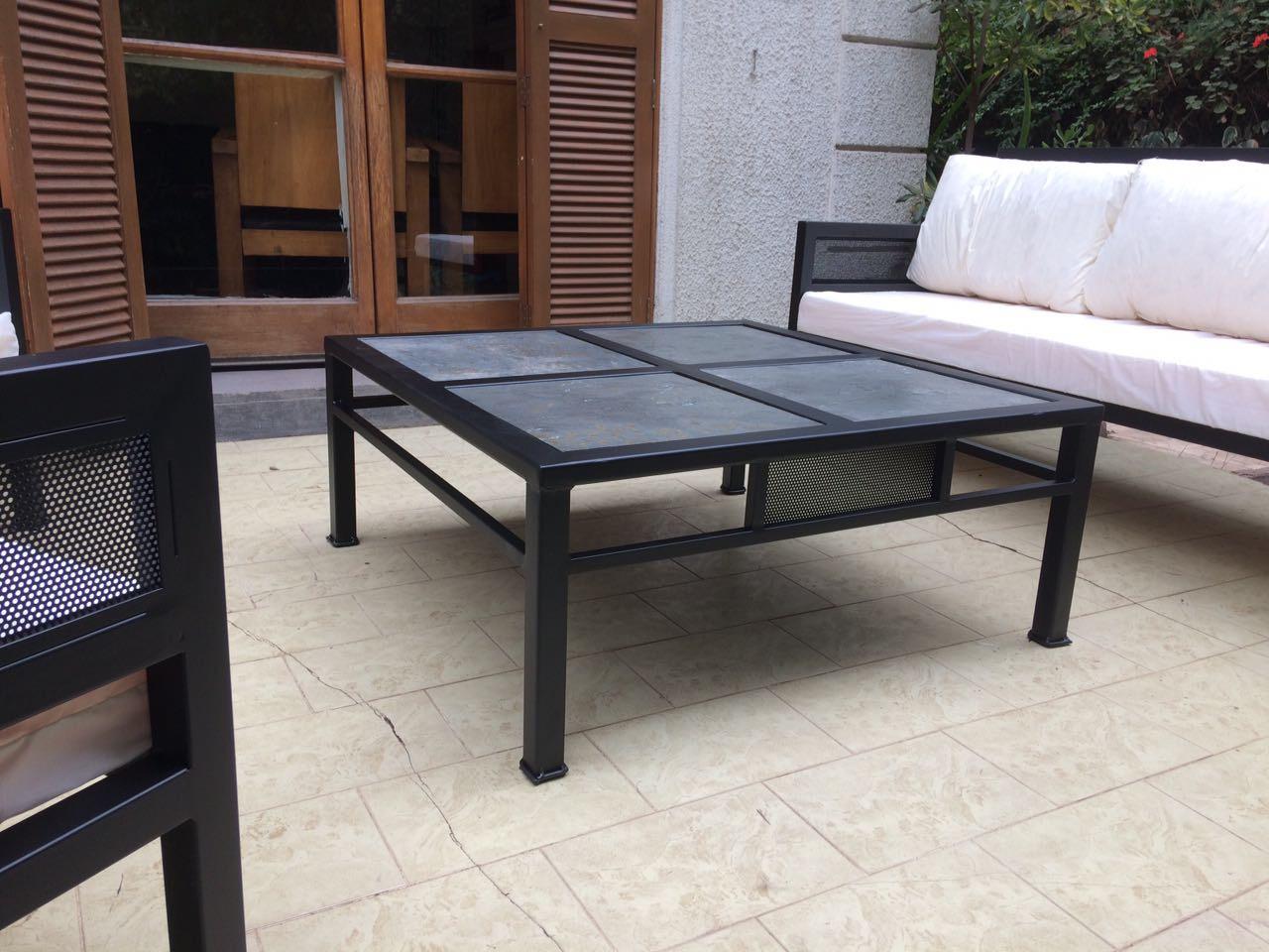 Mesa centro metal terrazas rusti home armonia en tu hogar for Muebles de terraza fierro